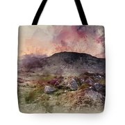 Watercolour Painting Of Stunning Summer Dawn Over Mountain Range Tote Bag