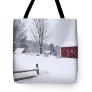 Wayside Inn Grist Mill Covered In Snow Storm Tote Bag