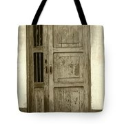 Weathered Gray Door In A Wall Tote Bag