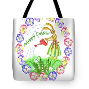 Welcome Spring.rabbit And Flowers Tote Bag