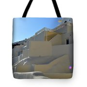 White Architecture In The City Of Oia In Santorini, Greece Tote Bag