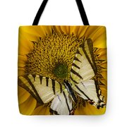 White Butterfly On Sunflower Tote Bag
