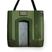White Door In A Green Wall Tote Bag