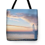 White Ladder Of A Diving Board At The Beach In Cres Tote Bag
