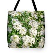 White Spiraea Flower Tote Bag