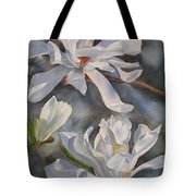 White Star Magnolia Blossoms Tote Bag