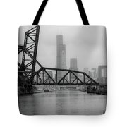 Willis Tower In Fog Tote Bag