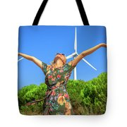 Wind Turbines Woman Tote Bag