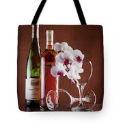 Wine And Orchids Still Life Tote Bag