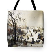 Winter Scene On A Canal Tote Bag