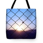 Wire Mesh Fence On A Sunset Background Tote Bag