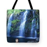 Woman At Waterfall Tote Bag