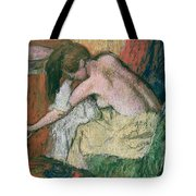 Woman Drying Herself Tote Bag