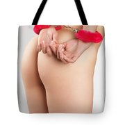 Woman Hands In Pink Handcuffs Tote Bag