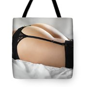 Woman In Lingerie Lying On A Bed Tote Bag