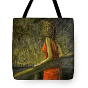 Woman In Red Tote Bag