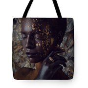 Woman In Splattered Golden Facial Paint Tote Bag