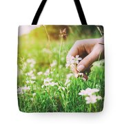 Woman Picking Up Flowers On A Meadow, Hand Close-up. Vintage Light Tote Bag