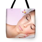 Woman Relaxing On Massage Table Tote Bag