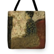 Woman Sitting By The Fireside Tote Bag