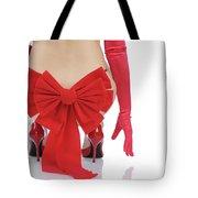 Woman With A Christmas Bow Tote Bag
