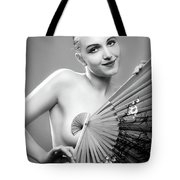 Woman With Fan Tote Bag
