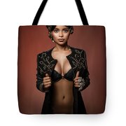 Woman With Ring Headdress And Bouffant Hairstyle Tote Bag