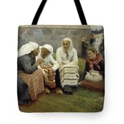 Women Outside The Church At Ruokolahti Tote Bag