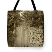Wood Gate In A Wall Of Stones Tote Bag