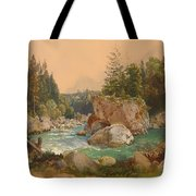 Wooded River Landscape In The Alps Tote Bag