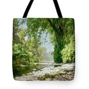 Wooded Riverscape Tote Bag by Leopold Rolhaug