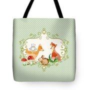 Woodland Fairytale - Animals Deer Owl Fox Bunny N Mushrooms Tote Bag