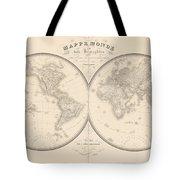World Map In Two Hemispheres Tote Bag