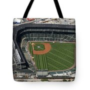 Wrigley Field In Chicago Aerial Photo Tote Bag