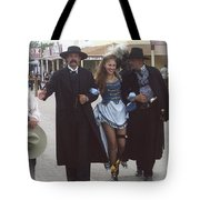 Wyatt Earp  Doc Holiday Escort  Woman  With O.k. Corral In  Background 2004 Tote Bag
