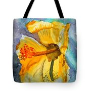 Yellow Hibiscus Shadows Tote Bag