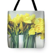 Yellow Narcissuses Bouquet In A Glass Vase Tote Bag