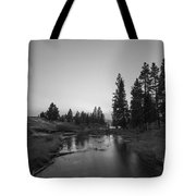 Yellowstone National Park Sunset And Moon Tote Bag