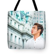 Young American Businessman Looking For Success. Tote Bag