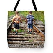 Young Boys On Railway Tracks Tote Bag