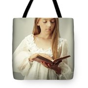 Young Girl Reading A Book Tote Bag