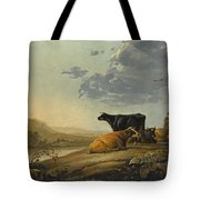 Young Herdsmen With Cows Tote Bag