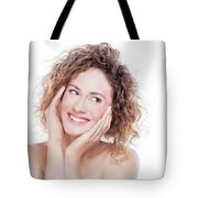 Young Smiling Woman With Curly Hair Portrait On White Tote Bag