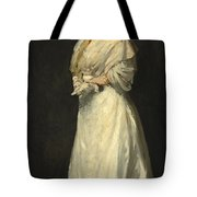 Young Woman In White Tote Bag