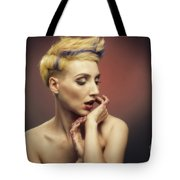 Young Woman With Glittered Fingers And Lips Tote Bag
