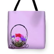 A Gift Of Preservrd Flower And Clay Flower Arrangement, Colorful Tote Bag