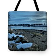 Sunset Over Obear Park In Snow Tote Bag