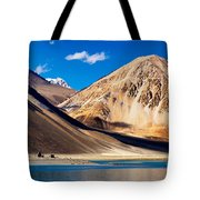 Mountains Pangong Tso Lake Leh Ladakh Jammu And Kashmir India Tote Bag