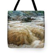 River Water Flowing Through Rocks At Dawn Tote Bag