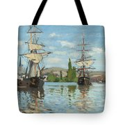 Ships Riding On The Seine At Rouen Tote Bag